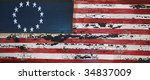 weathered wooden american flag | Shutterstock . vector #34837009