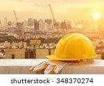 yellow hard hat on construction ...   Shutterstock . vector #348370274