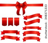 red ribbon and bow set. vector... | Shutterstock .eps vector #348371333