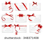 card with red ribbon and bow... | Shutterstock .eps vector #348371408
