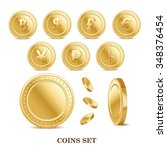 Set Of The Currency Golden...