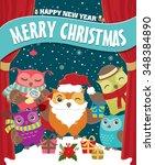 vintage christmas poster design ... | Shutterstock .eps vector #348384890