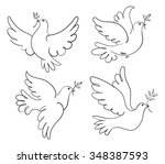 set of vector symbols dove of... | Shutterstock .eps vector #348387593