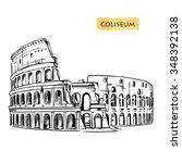 coliseum in rome  italy.... | Shutterstock .eps vector #348392138