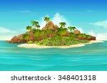 Tropical Island  Vector...