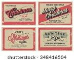 set of retro vintage merry... | Shutterstock .eps vector #348416504