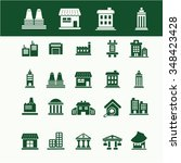 buildings  houses  icons  signs ... | Shutterstock .eps vector #348423428