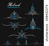 set of vintage pinstripe line... | Shutterstock .eps vector #348432374