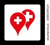 medical map markers vector icon.... | Shutterstock .eps vector #348439514