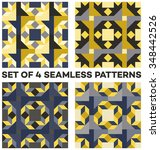 set of 4 abstract retro... | Shutterstock .eps vector #348442526