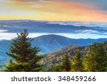 fall and fog peak in the great... | Shutterstock . vector #348459266