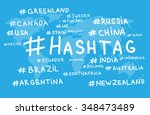 hashtag world map country blue... | Shutterstock . vector #348473489