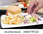 chef decorated hamburger and... | Shutterstock . vector #348479510