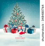 christmas tree with presents... | Shutterstock .eps vector #348480764