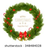 gift card with christmas wreath ... | Shutterstock .eps vector #348484028