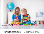children playing with wooden... | Shutterstock . vector #348486443