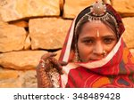 traditional indian woman in... | Shutterstock . vector #348489428