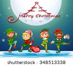 christmas card with elf on... | Shutterstock .eps vector #348513338