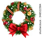 christmas wreath with ribbons ... | Shutterstock .eps vector #348522584