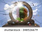 four season tree in a clock | Shutterstock . vector #348526679