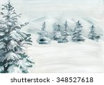 Abstract Snowy Land With Pine...
