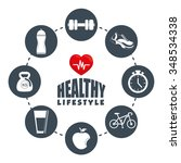 fitness and healthy lifestyle... | Shutterstock .eps vector #348534338