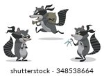 set of cartoon bandit raccoon... | Shutterstock .eps vector #348538664