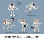 Set Of Cartoon Astronauts In...