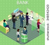 isometric interior of the bank... | Shutterstock .eps vector #348542420