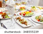 served for a banquet table.... | Shutterstock . vector #348555239