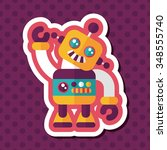 vintage robot flat icon with... | Shutterstock .eps vector #348555740