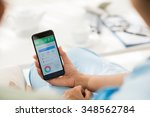 caregiver showing diet tracker...   Shutterstock . vector #348562784