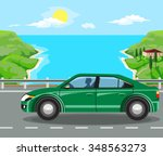 idyllic seascape. on the road... | Shutterstock .eps vector #348563273
