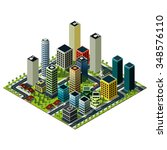 big city isometric map. set of... | Shutterstock .eps vector #348576110