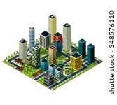 big city isometric map vector... | Shutterstock .eps vector #348576110