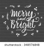 merry and bright. hand... | Shutterstock .eps vector #348576848
