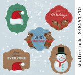 christmas set with notes ... | Shutterstock .eps vector #348591710