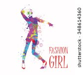 fashion girl in sketch style.... | Shutterstock .eps vector #348614360