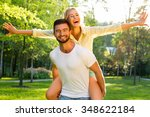 lovers are laughing. happy... | Shutterstock . vector #348622184
