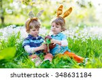 two little kid boys playing... | Shutterstock . vector #348631184