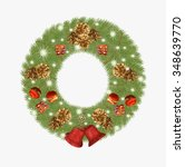 wreath of christmas tree with... | Shutterstock . vector #348639770