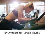woman taking break during... | Shutterstock . vector #348648368