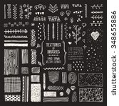 hand drawn textures and brushes.... | Shutterstock .eps vector #348655886