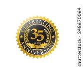 35 years anniversary golden... | Shutterstock .eps vector #348670064