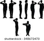 businessman silhouette wih army ... | Shutterstock .eps vector #348672473