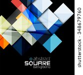 glossy color squares on black.... | Shutterstock .eps vector #348679760