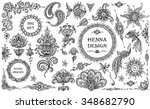 big vector set of henna floral... | Shutterstock .eps vector #348682790