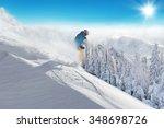 man skier running downhill on... | Shutterstock . vector #348698726