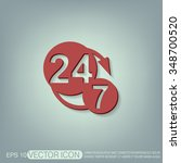 24 7 icon. open 24 hours a day...   Shutterstock .eps vector #348700520