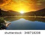 Sunrise Over Lake And Mountain...